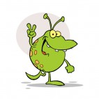 Happy green alien gesturing a peace sign, decals stickers