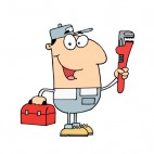 Smiling repairman holding wrench and toolbox , decals stickers