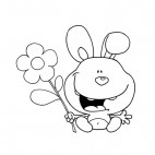 Bunny holding flower , decals stickers