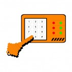 Alarm control pad with key, decals stickers