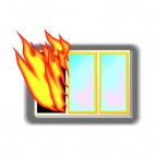 Fire flames coming out of window, decals stickers