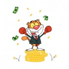 Tiger with boxing gloves on dollars coin stacks , decals stickers