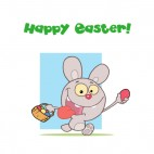 Happy easter grey rabbit running with egg basket , decals stickers