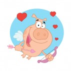 Cupid pig flying with bow and arrow and hearts , decals stickers