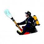 Fireman with hose extinguishing , decals stickers