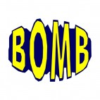 Blue and yellow bomb title, decals stickers