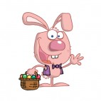 Pink easter bunny with easter egg basket waving, decals stickers