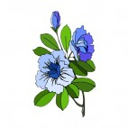 Blue roses with leaves, decals stickers