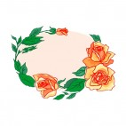 Orange roses with leaves backround, decals stickers