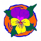 Flower with yellow and purple petals, decals stickers
