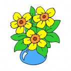Yellow jonquils in blue vase, decals stickers
