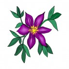 Purple flower with green leaves, decals stickers