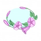 Purple flowers with leaves backround, decals stickers