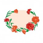 Orange and red roses with leaves backround, decals stickers
