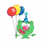 Green bear with blue party hat and balloons, decals stickers