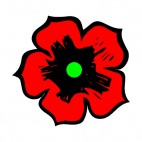 Green and black with red petals flower, decals stickers