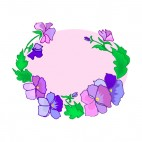 Blue and purple flowers with leaves backround, decals stickers