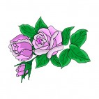 Purple roses with leaves, decals stickers