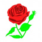 Red rose on twig with leaves, decals stickers
