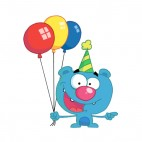 Blue bear with blue party hat and balloons , decals stickers
