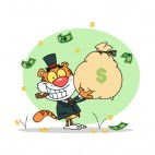 Tiger in suit with cigar in mouth holding bag of money , decals stickers