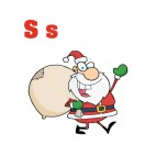 Alphabet S santa claus with gift bag waving, decals stickers