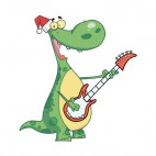 Green dinosaur with santa hat playing guitar, decals stickers