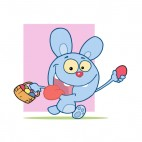 Blue bunny running with easter egg basket, decals stickers