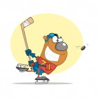 Bear playing hockey, decals stickers