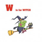 Alphabet W is for witch witch flying on broom with cat , decals stickers