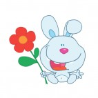 Blue bunny holding red flower, decals stickers