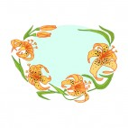 Orange lilies with black spots flower with leaves backround, decals stickers