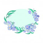 Blue flowers with leaves blue backround, decals stickers