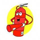 Smiling red fire extinguisher with nozzle , decals stickers