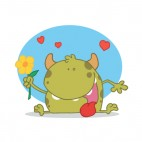 Green monster holding orange flower with hearts around, decals stickers