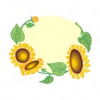 Sunflowers with leaves yellow backround, decals stickers