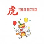 Year of the tiger tiger with glass of champagne, decals stickers