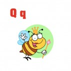 Alphabet Q queen bee smiling and waving, decals stickers