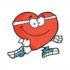 Heart with white headband with running shoes running, decals stickers
