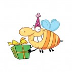 Bee with purple party hat carrying gift , decals stickers