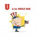 Alphabet U is for Uncle sam uncle sam with usa flag, decals stickers