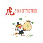 Year of the tiger tiger in suit holding bag of money , decals stickers
