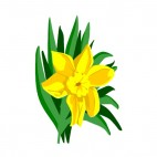 Yellow flower with leaves, decals stickers