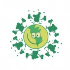 Smiling green planet with leprechauns dancing on it , decals stickers
