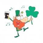Leprechaun holding shamrock and glass of beer dancing, decals stickers