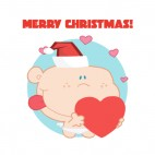 Merry Christmas cupid with santa hat holding heart, decals stickers
