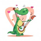 Green dinosaur playing guitar with heart backround , decals stickers