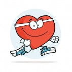 Heart with white headband with running shoes running , decals stickers