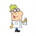 Scientist with eyeglasses holding flask , decals stickers