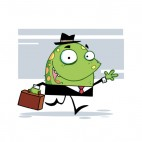 Green monster in suit with suitcase going to work , decals stickers